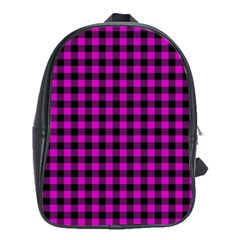 Lumberjack Fabric Pattern Pink Black School Bags(Large)