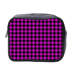 Lumberjack Fabric Pattern Pink Black Mini Toiletries Bag 2-Side
