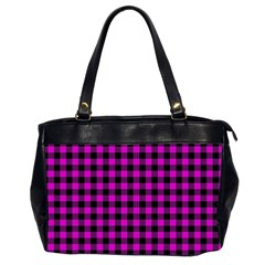 Lumberjack Fabric Pattern Pink Black Office Handbags (2 Sides)