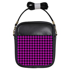 Lumberjack Fabric Pattern Pink Black Girls Sling Bags