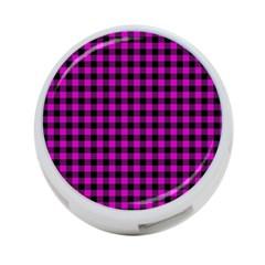 Lumberjack Fabric Pattern Pink Black 4-Port USB Hub (One Side)