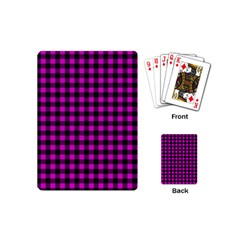 Lumberjack Fabric Pattern Pink Black Playing Cards (Mini)