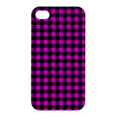 Lumberjack Fabric Pattern Pink Black Apple iPhone 4/4S Hardshell Case