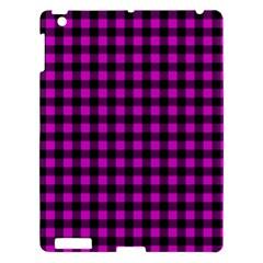 Lumberjack Fabric Pattern Pink Black Apple iPad 3/4 Hardshell Case