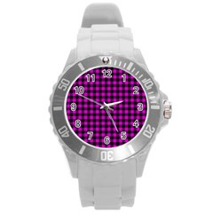 Lumberjack Fabric Pattern Pink Black Round Plastic Sport Watch (L)