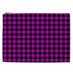 Lumberjack Fabric Pattern Pink Black Cosmetic Bag (XXL)