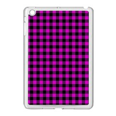 Lumberjack Fabric Pattern Pink Black Apple iPad Mini Case (White)