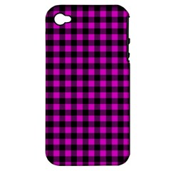 Lumberjack Fabric Pattern Pink Black Apple iPhone 4/4S Hardshell Case (PC+Silicone)