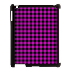 Lumberjack Fabric Pattern Pink Black Apple iPad 3/4 Case (Black)