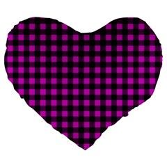 Lumberjack Fabric Pattern Pink Black Large 19  Premium Heart Shape Cushions