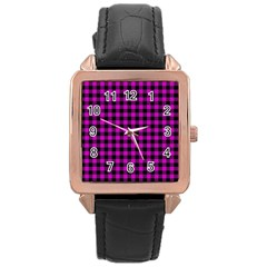 Lumberjack Fabric Pattern Pink Black Rose Gold Leather Watch