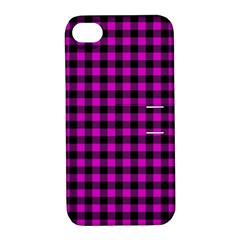 Lumberjack Fabric Pattern Pink Black Apple iPhone 4/4S Hardshell Case with Stand