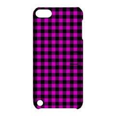 Lumberjack Fabric Pattern Pink Black Apple iPod Touch 5 Hardshell Case with Stand