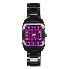 Lumberjack Fabric Pattern Pink Black Stainless Steel Barrel Watch