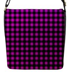 Lumberjack Fabric Pattern Pink Black Flap Messenger Bag (S)