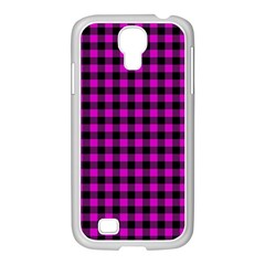 Lumberjack Fabric Pattern Pink Black Samsung GALAXY S4 I9500/ I9505 Case (White)