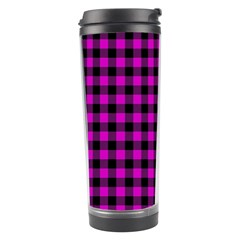 Lumberjack Fabric Pattern Pink Black Travel Tumbler