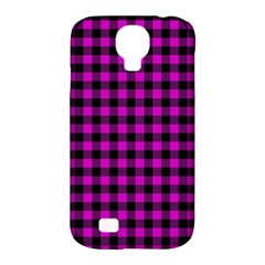 Lumberjack Fabric Pattern Pink Black Samsung Galaxy S4 Classic Hardshell Case (PC+Silicone)