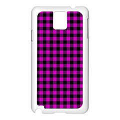 Lumberjack Fabric Pattern Pink Black Samsung Galaxy Note 3 N9005 Case (White)