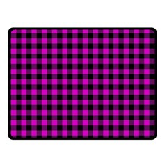 Lumberjack Fabric Pattern Pink Black Double Sided Fleece Blanket (Small)