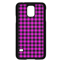 Lumberjack Fabric Pattern Pink Black Samsung Galaxy S5 Case (Black)