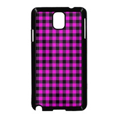 Lumberjack Fabric Pattern Pink Black Samsung Galaxy Note 3 Neo Hardshell Case (Black)