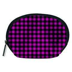 Lumberjack Fabric Pattern Pink Black Accessory Pouches (Medium)