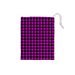 Lumberjack Fabric Pattern Pink Black Drawstring Pouches (Small)