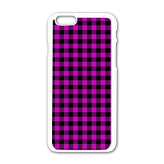Lumberjack Fabric Pattern Pink Black Apple iPhone 6/6S White Enamel Case