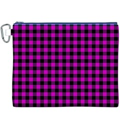 Lumberjack Fabric Pattern Pink Black Canvas Cosmetic Bag (XXXL)