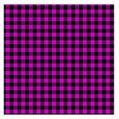 Lumberjack Fabric Pattern Pink Black Large Satin Scarf (Square)