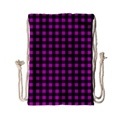 Lumberjack Fabric Pattern Pink Black Drawstring Bag (small)