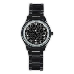 Floral pattern Stainless Steel Round Watch