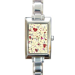 Valentinstag Love Hearts Pattern Red Yellow Rectangle Italian Charm Watch
