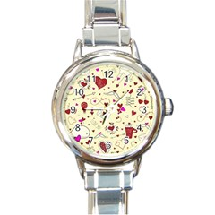 Valentinstag Love Hearts Pattern Red Yellow Round Italian Charm Watch