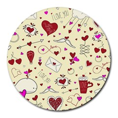 Valentinstag Love Hearts Pattern Red Yellow Round Mousepads