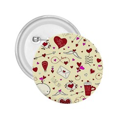 Valentinstag Love Hearts Pattern Red Yellow 2.25  Buttons