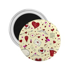 Valentinstag Love Hearts Pattern Red Yellow 2.25  Magnets