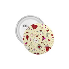 Valentinstag Love Hearts Pattern Red Yellow 1.75  Buttons