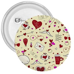 Valentinstag Love Hearts Pattern Red Yellow 3  Buttons