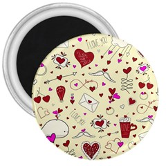 Valentinstag Love Hearts Pattern Red Yellow 3  Magnets