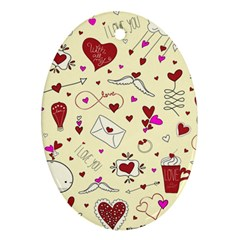 Valentinstag Love Hearts Pattern Red Yellow Ornament (Oval)