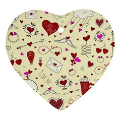 Valentinstag Love Hearts Pattern Red Yellow Ornament (Heart)