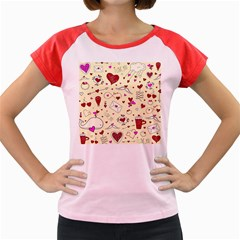 Valentinstag Love Hearts Pattern Red Yellow Women s Cap Sleeve T-Shirt
