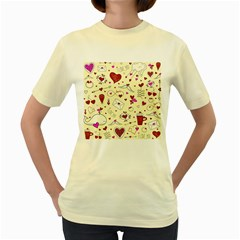 Valentinstag Love Hearts Pattern Red Yellow Women s Yellow T-Shirt