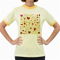 Valentinstag Love Hearts Pattern Red Yellow Women s Fitted Ringer T-Shirts