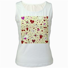Valentinstag Love Hearts Pattern Red Yellow Women s White Tank Top