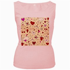 Valentinstag Love Hearts Pattern Red Yellow Women s Pink Tank Top