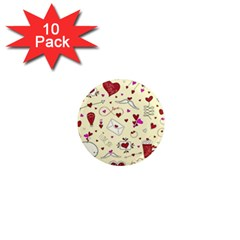 Valentinstag Love Hearts Pattern Red Yellow 1  Mini Magnet (10 pack)