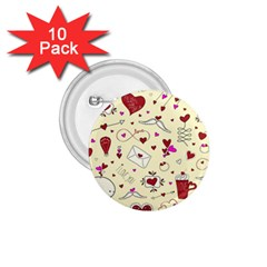 Valentinstag Love Hearts Pattern Red Yellow 1.75  Buttons (10 pack)